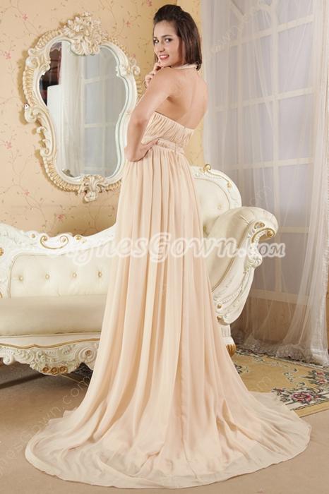 Halter Neckline Column Full Length Champagne Junior Prom Dress