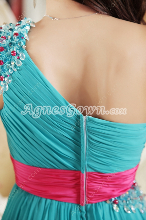 Lovely One Shoulder Column Blue Prom Dress With Hot Pink Sash