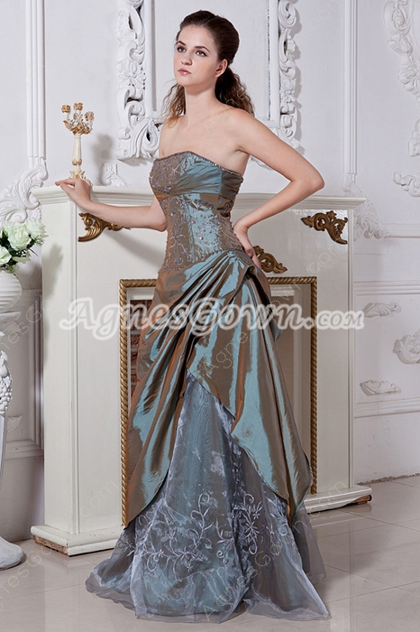 Olive Green Taffeta Embroidery Prom Dress 2016