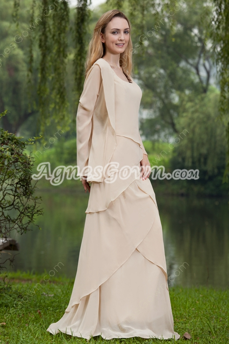 Champagne Chiffon Mother Of The Bride Dresses With Long Sleeves Jacket