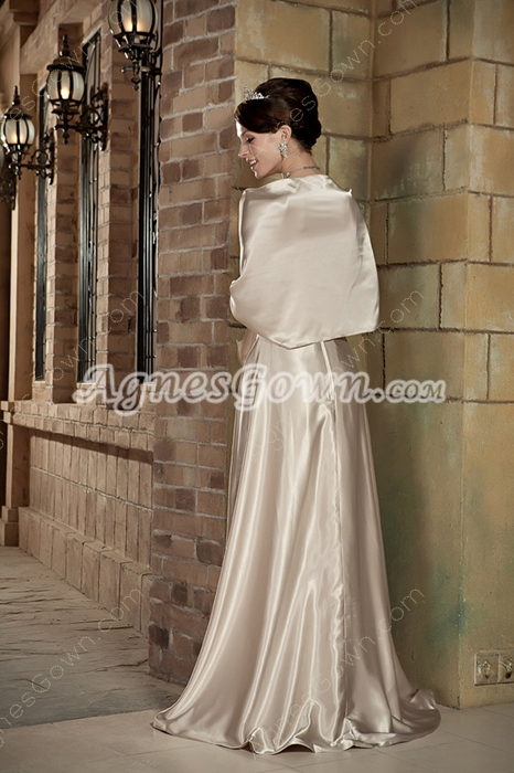 Modest One Shoulder Light Champagne Formal Evening Gown