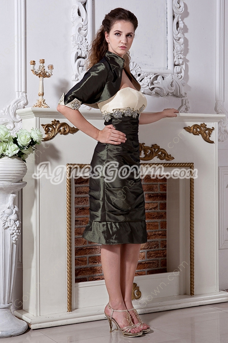 Olive Green Mother of Groom Dress Knee Length