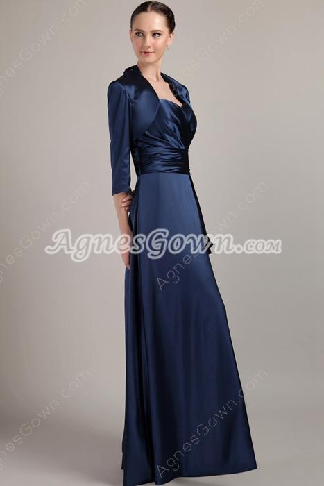 Modest Dark Navy Satin Long Sleeve Mother Of The Bride Dress
