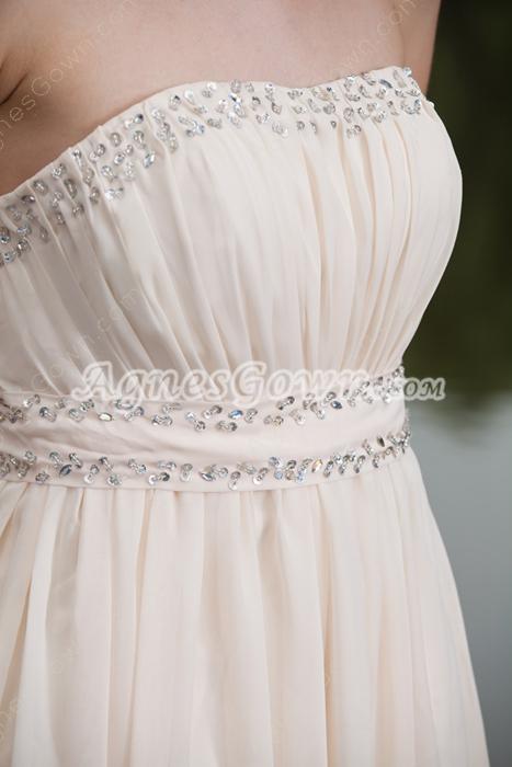 Beaded Strapless Column Full Length Ivory Beach Wedding Dress