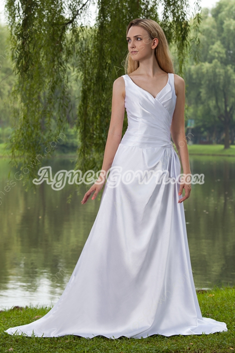 Corset Back V-Neckline Full Length Satin Plus Size Wedding Dress