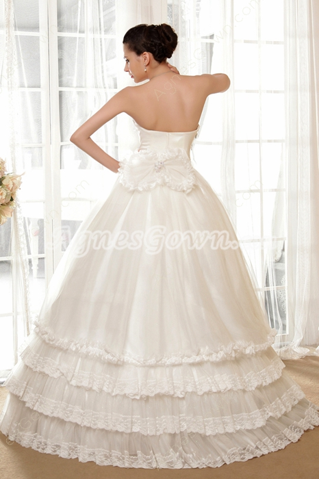 Strapless Empire Full Length Puffy Big Size Wedding Dress