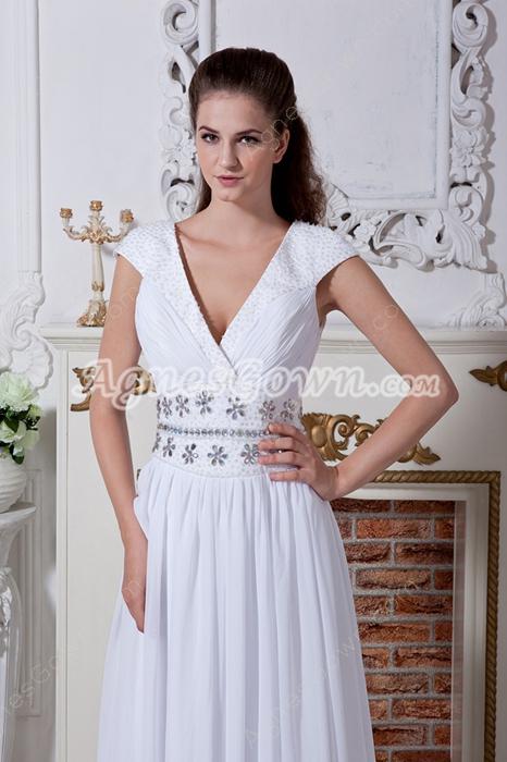 Plunge Neckline Cap Sleeves Column Chiffon Beach Wedding Gown