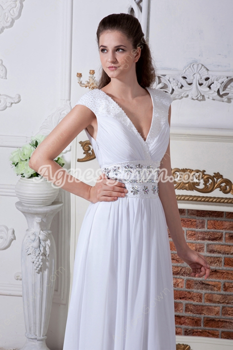 Plunge Neckline Cap Sleeves Column Chiffon Beach Wedding Gown