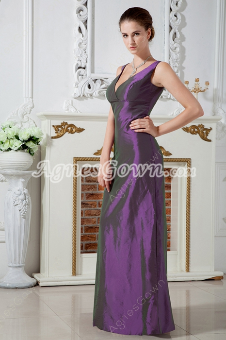 Deep V-Neckline Column Purple Taffeta Mother Of The Groom Dress