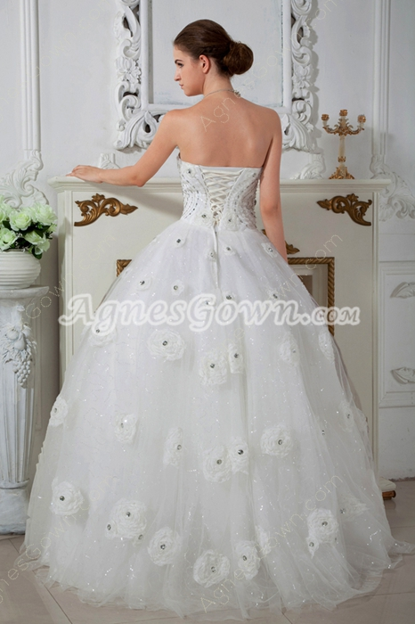 Classy Ball Gown Wedding Dress With 3d Flower