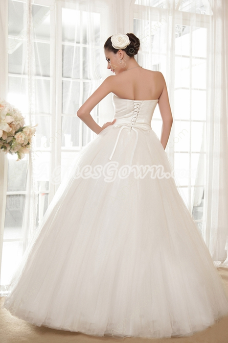 Ball Gown Floor Length Wedding Dress Corset Back