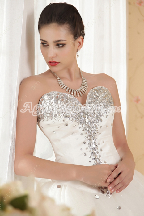 Sweetheart Puffy Floor Length Plus Size Wedding Dress Basque Waistline