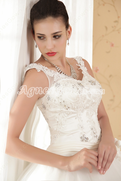 V-Neckline Straps Full Length Princess Wedding Dress Big Size