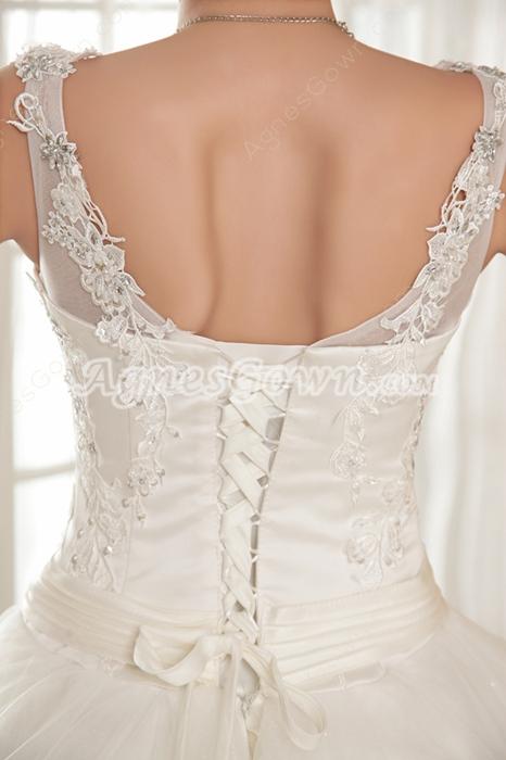 V-Neckline Straps Full Length Princess Wedding Dress Big Size