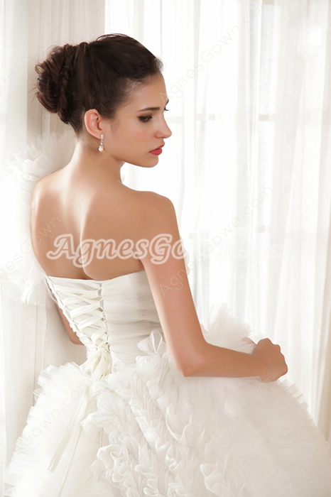 Asymmetrical Straps One Shoulder Ball Gown Wedding Dress 2016