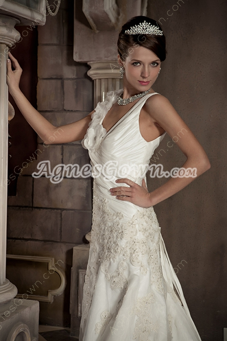 Beautiful V-Neckline A-line Full Length Summer Wedding Dress