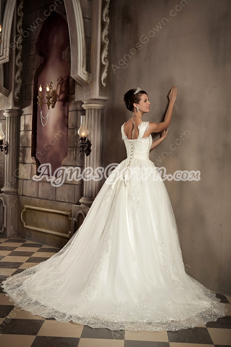 Straps Full Lnegth Ball Gown Cinderella Wedding Dress Plus Size