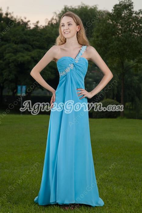 Cut Out One Shoulder A-line Blue Long Evening Dress