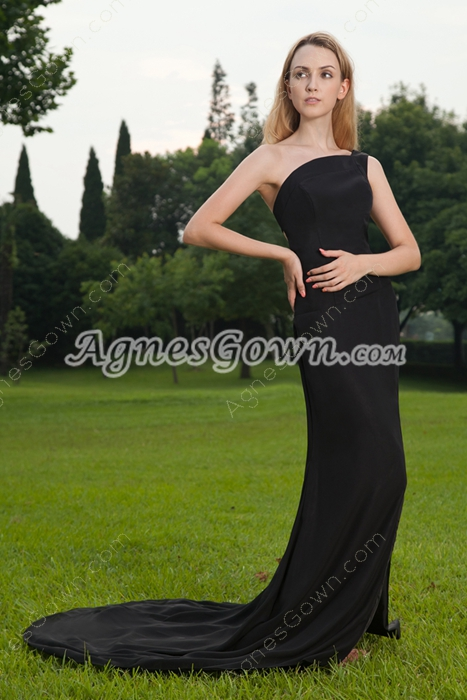 Special One Shoulder Sheath Floor Length Black Evening Dress Backless
