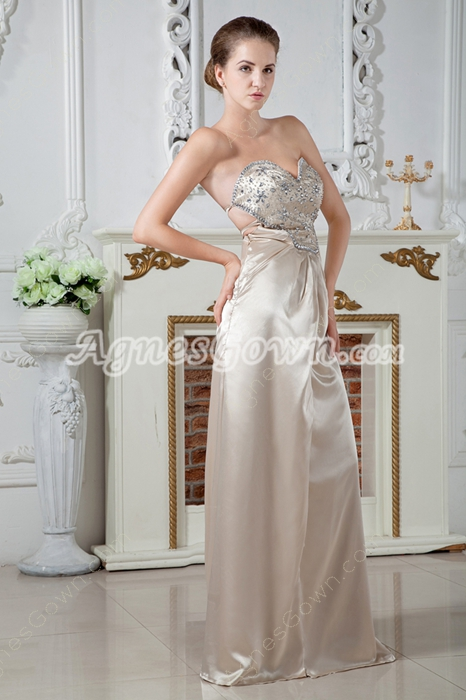 Hot Crossed Straps Back Column Full Length Champagne Evening Dress