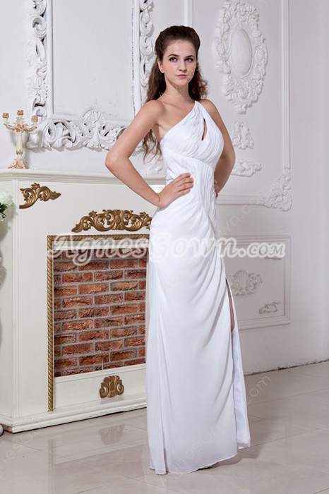 Front Slit One Shoulder Chiffon Informal Evening Dress