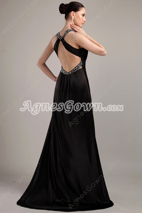 Sexy Plunge Neckline Black Evening Dress Front Slit