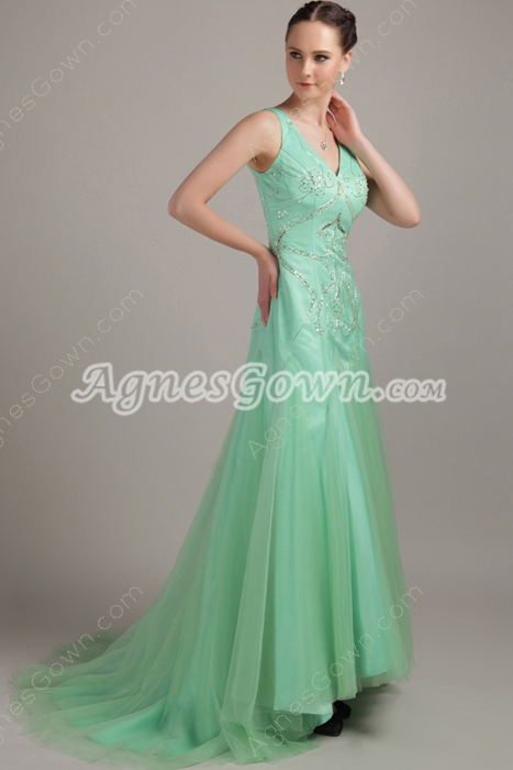 Mint Green Plunge Neckline A-line Tulle Prom Gown With Embroidery