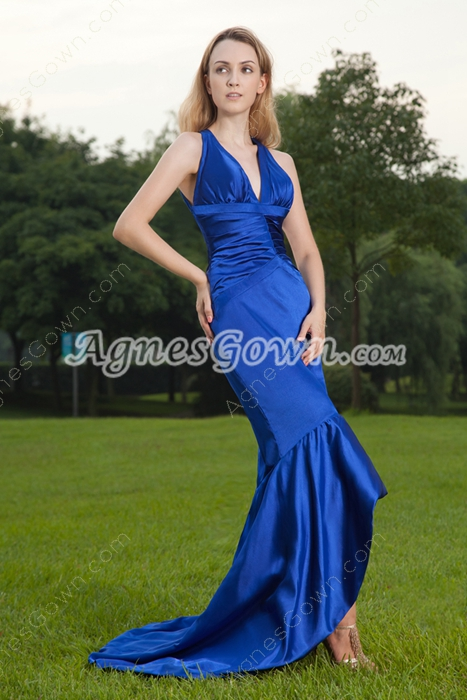 Crossed Back Royal Blue Trumpet/Fishtail Evening Dress