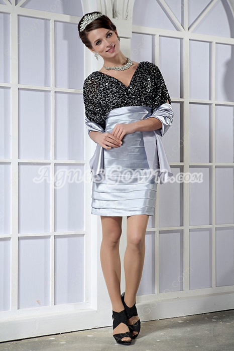 Short Sleeves V-Neckline Black And Silver Wedding Guest Dress