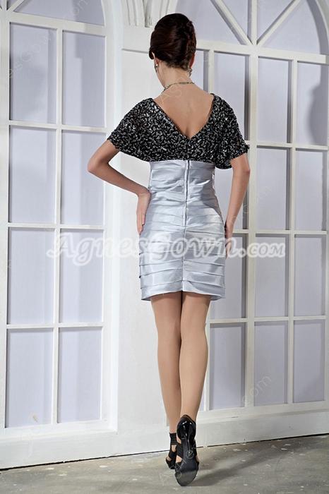 Short Sleeves V-Neckline Black And Silver Wedding Guest Dress