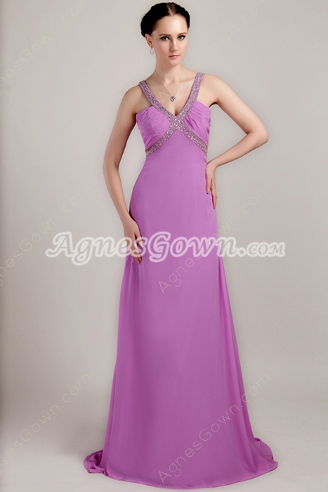 Sexy Keyhole Back Lilac Chiffon Evening Dress