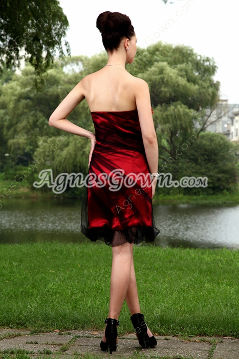 Knee Length Black And Red Graduation Dress