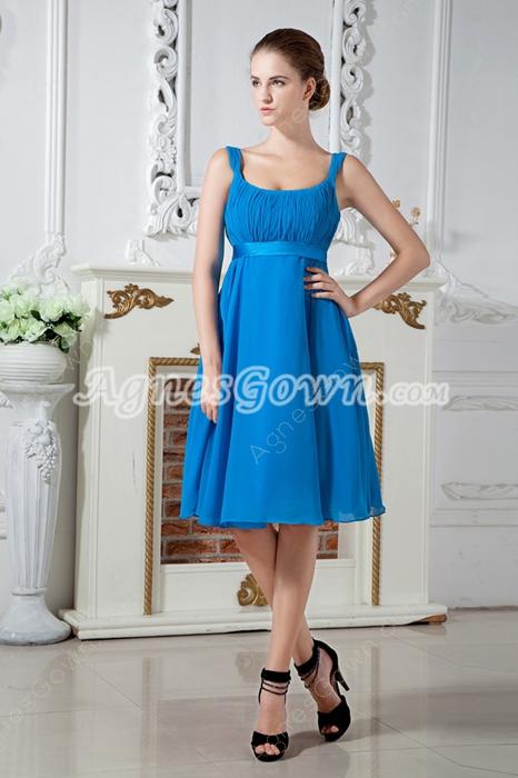 Knee Length Turquoise Chiffon Prom Dress