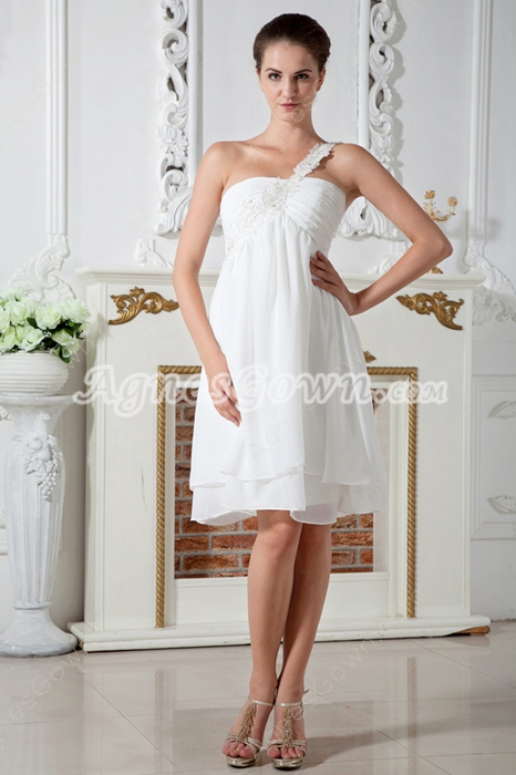 One Shoulder Empire Knee Length Maternity Wedding Dress
