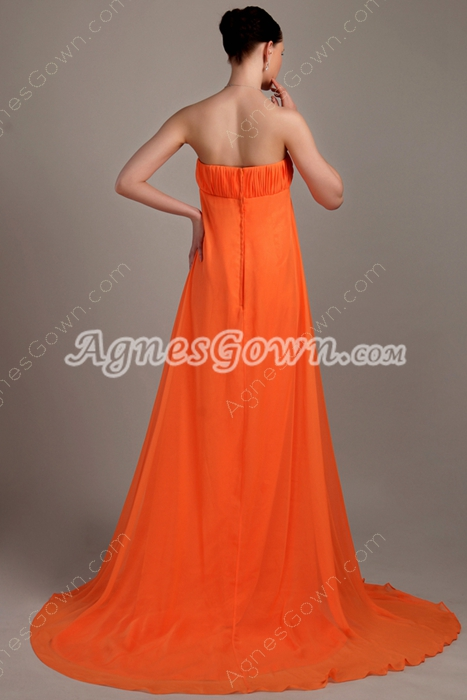 Empire Full Length Orange Chiffon Maternity Prom Gown