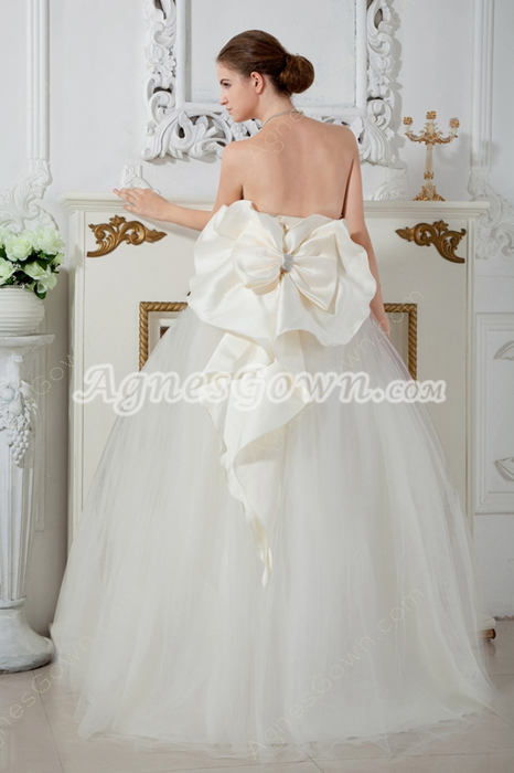 Lovely Strapless Tulle Ball Gown Quinceanera Dress With Bowknot