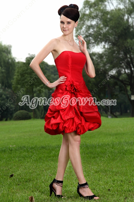 Red Taffeta Ball Gown Mini Length Sweet Sixteen Dress