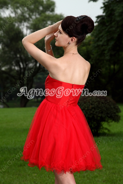 Adorable Sweetheart Puffy Mini Length Red Sweet 16 Dress