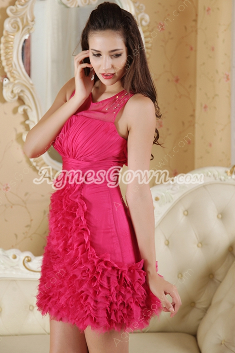 Jewel Neckline Mini Length Fuchsia Graduation Dress