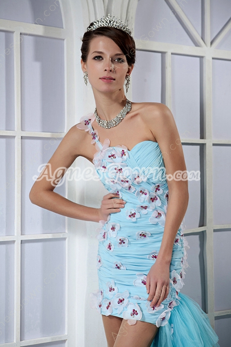 Gorgeous One Shoulder Sheath Mini Length Cocktail Dress With Train
