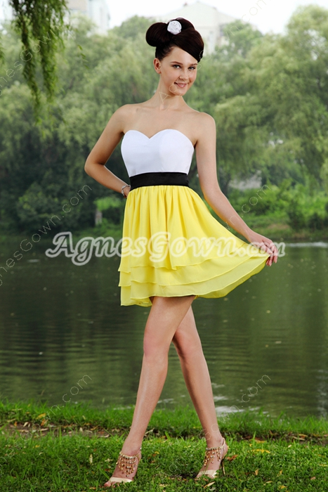 Lovely White And Yellow Mini Length Damas Dress