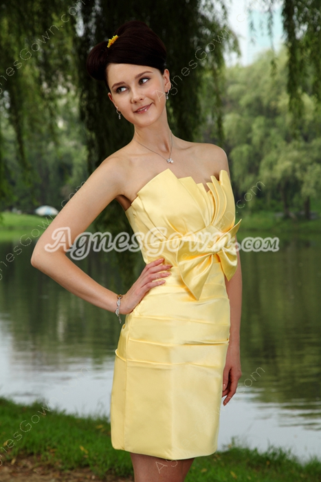Satin Mini Length Daffodil Cocktail Dress With Bow