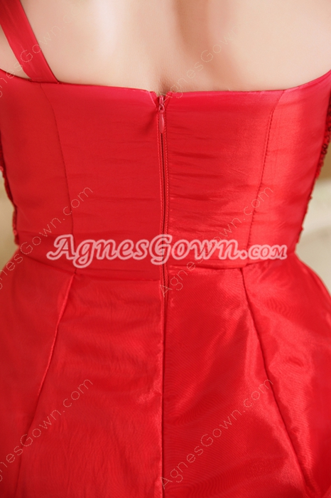 Sassy One Shoulder Puffy Mini Length Red Organza Sweet Sixteen Dress