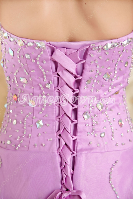 Beaded Bodice Puffy Floor Length Lilac Princess Quinceanera Dress