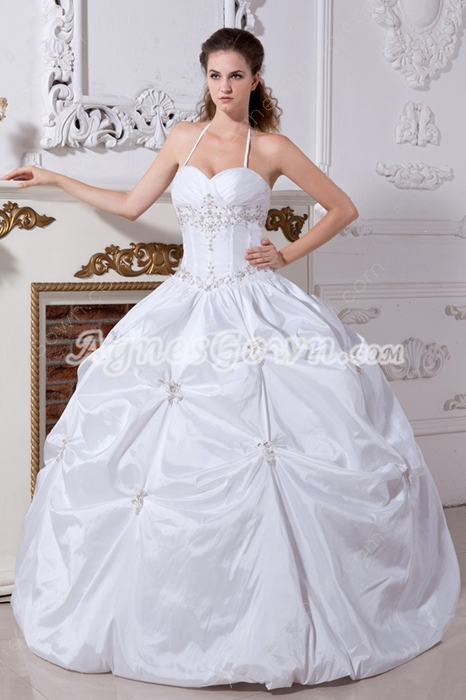 Top Halter Ball Gown Taffeta Cinderella Quinceanera Dress