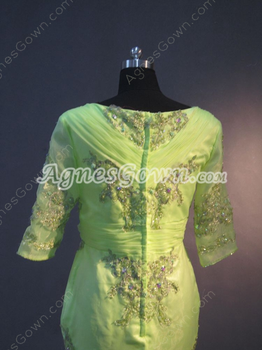 1/2 Sleeves Lime Green Organza Long Mother of Groom Dress