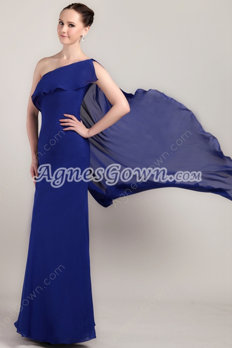 One Shoulder Column Full Length Royal Blue Chiffon Bridesmaid Dress