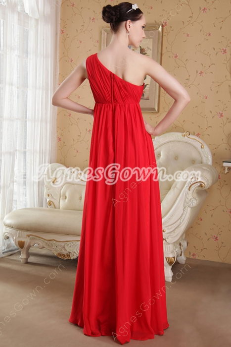 One Shoulder Empire Full Length Red Chiffon Maternity Prom Dress