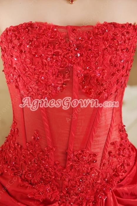 Strapless A-Line Full Length Red Taffeta Prom Dress