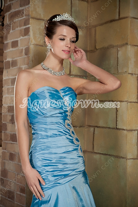 Beautiful Shallow Sweetheart Trumpet/Mermaid Blue Prom Dress